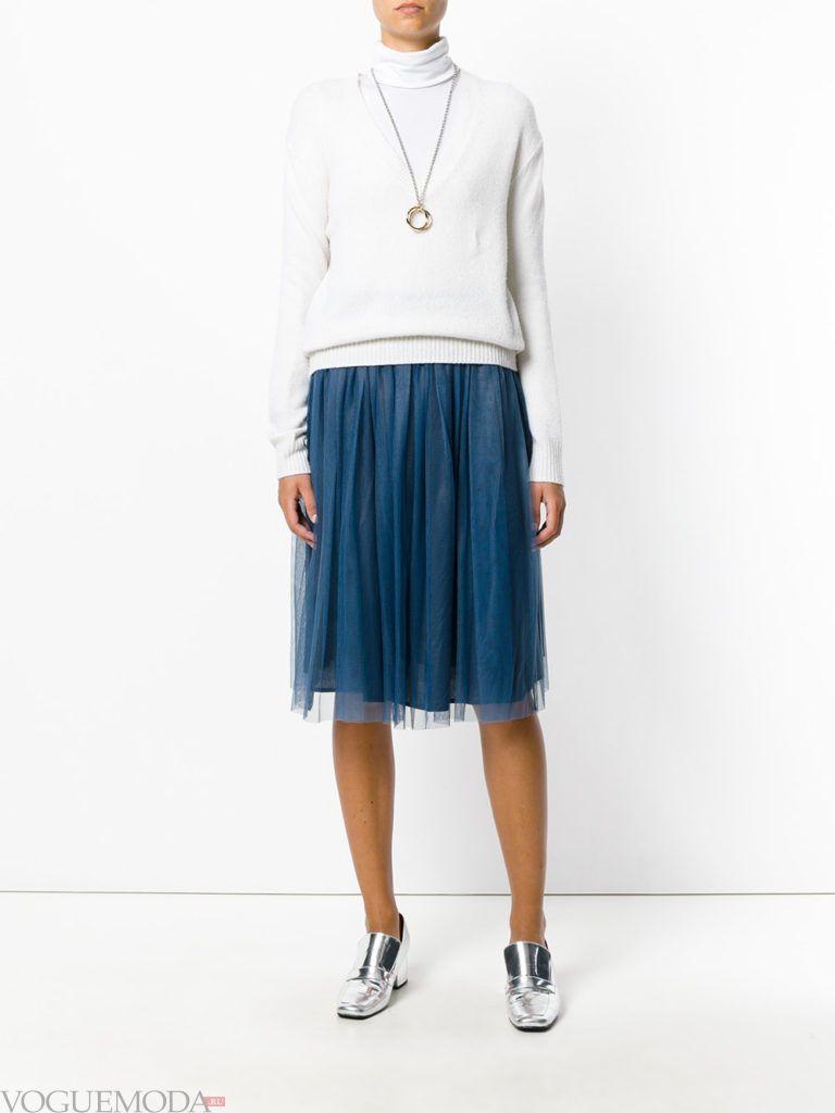 юбка плиссе прохладного синего цвета