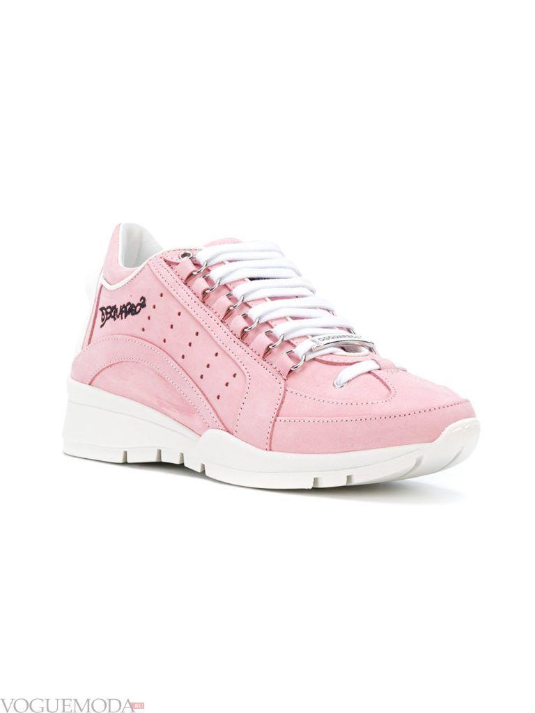 женские кроссовки на пластичной подошве розовые