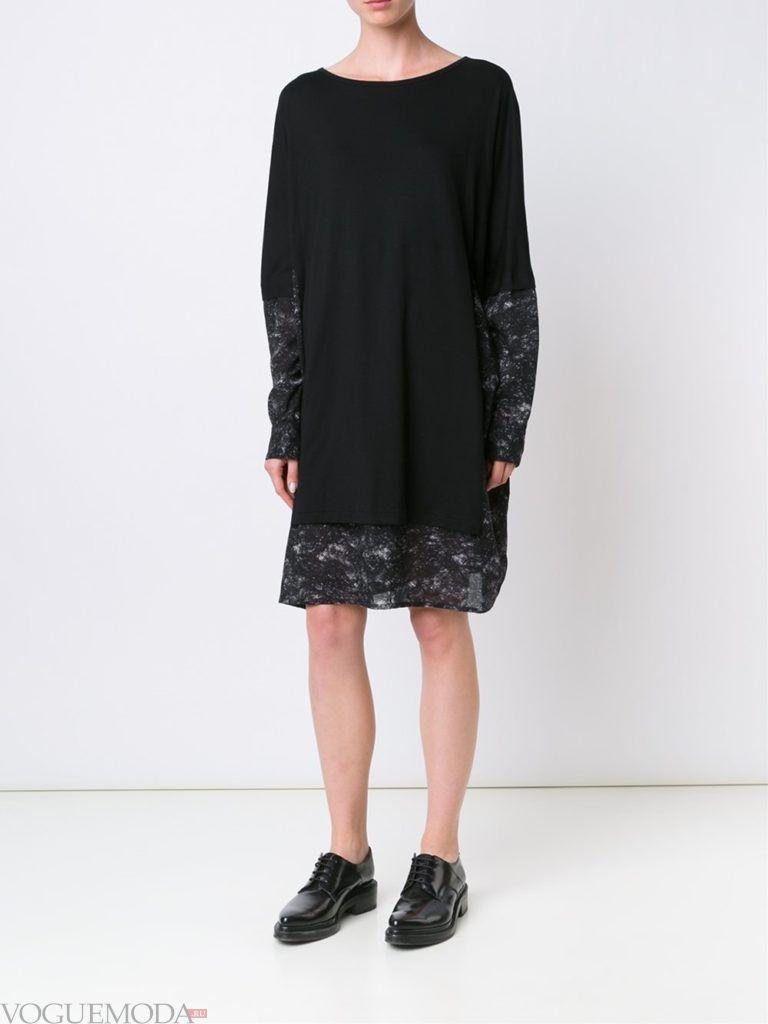 модный лук платье-свитер черное