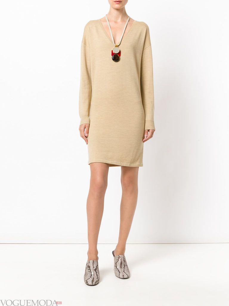 модный лук платье-свитер бежевое
