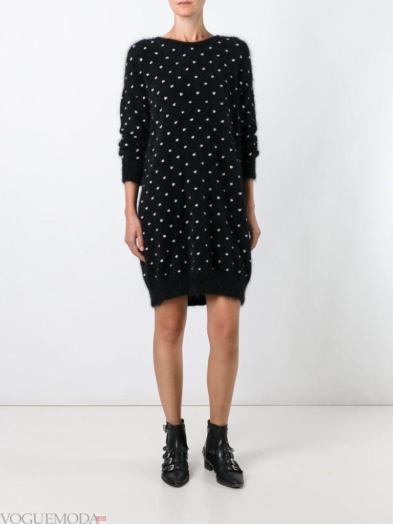 модный лук платье-свитер в горох
