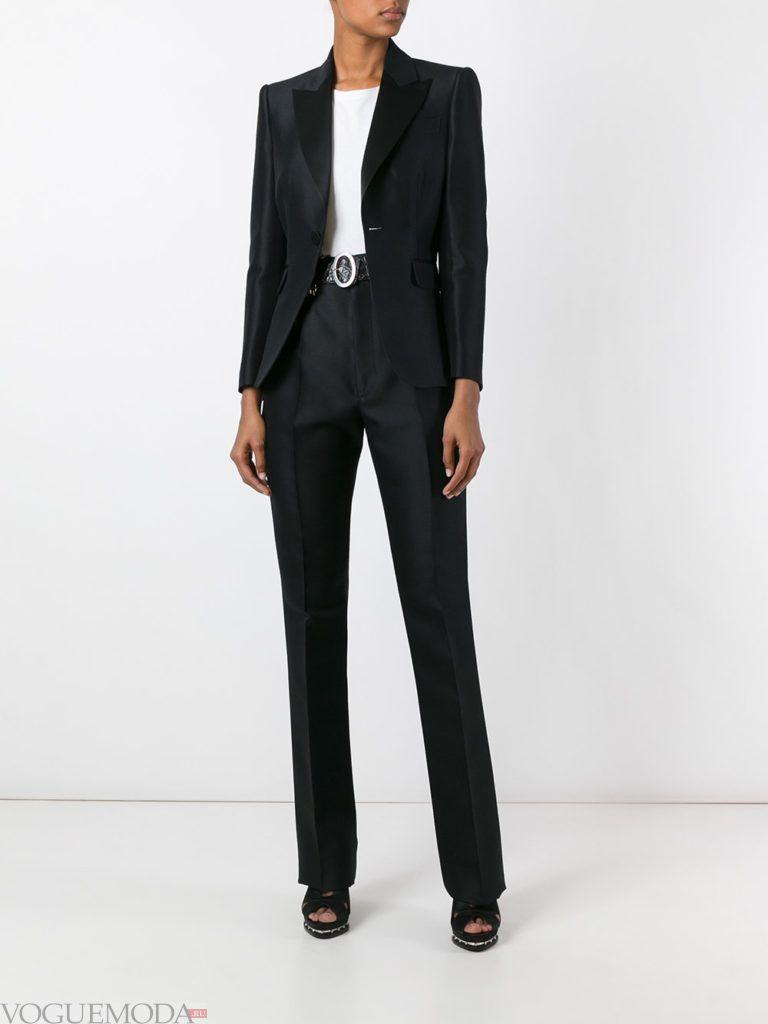 модный лук интригующий брючный костюм черный