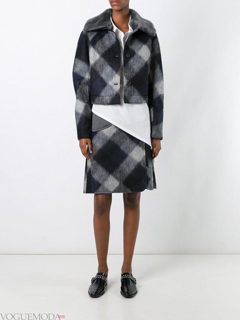 модный лук юбка в клетку с пиджаком