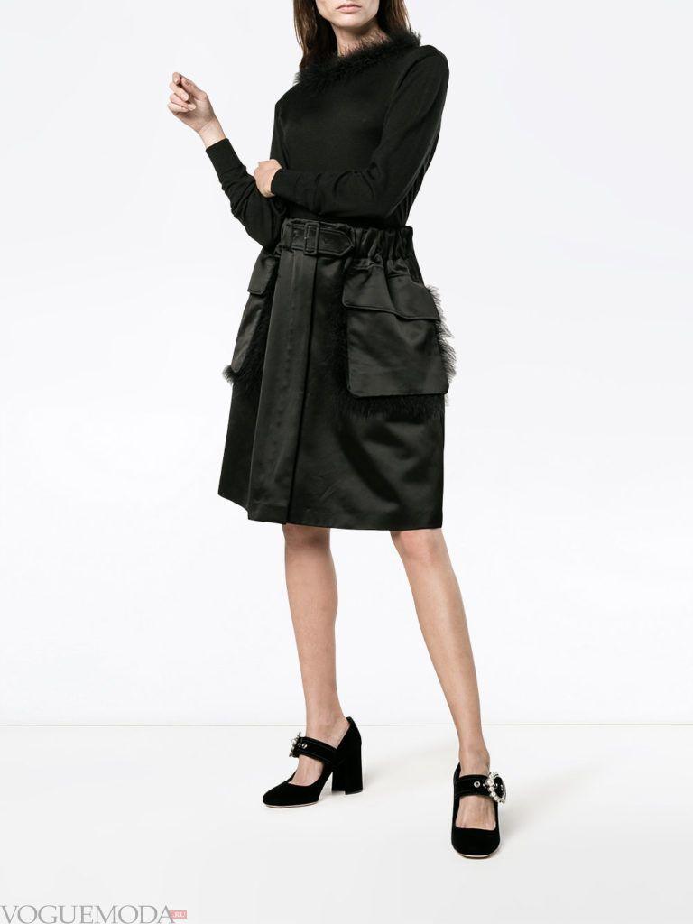 модный лук юбка с мехом