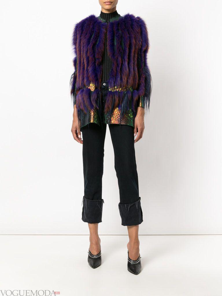 модный лук пиджак с мехом