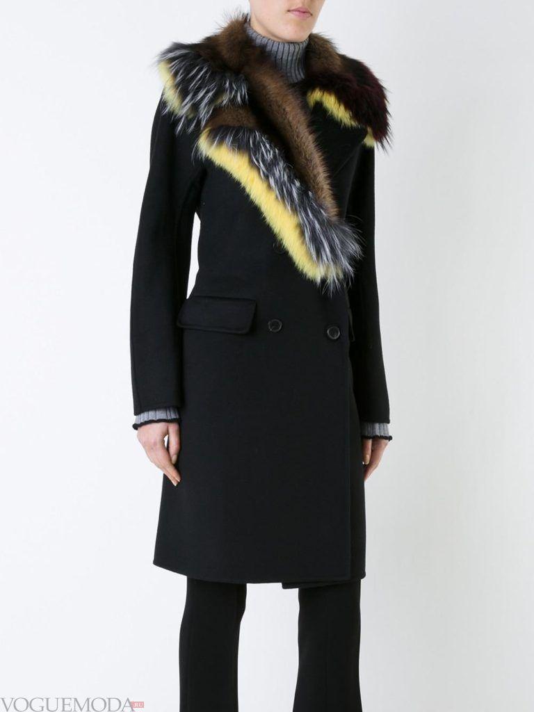 модный лук пальто с мехом