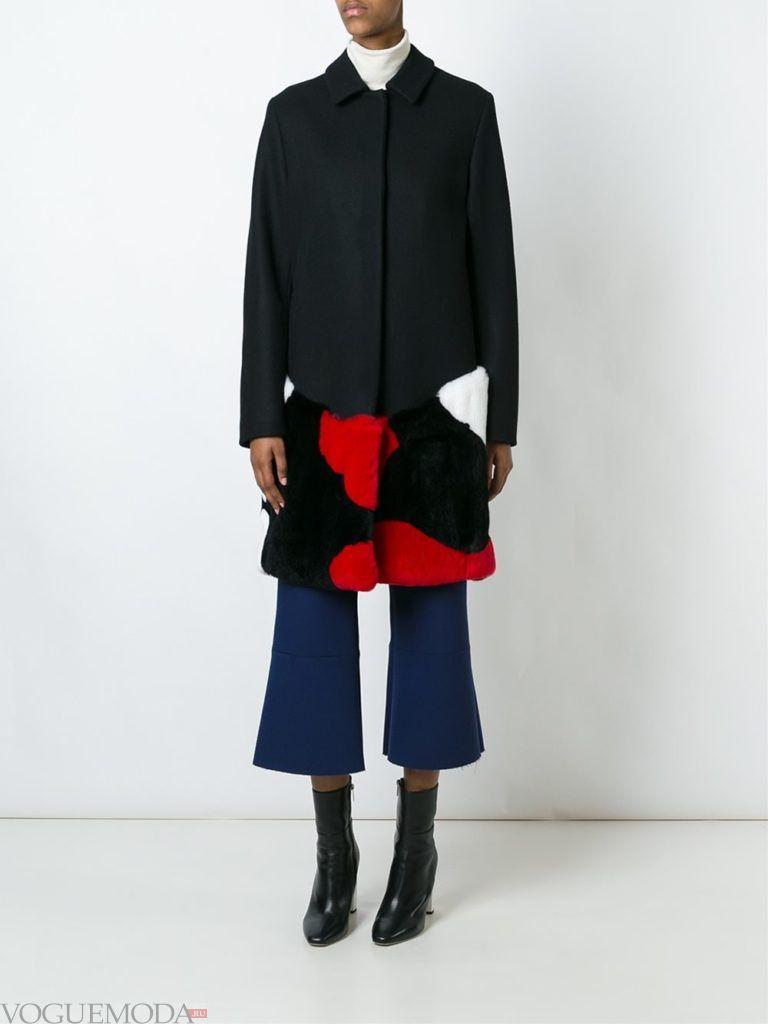 модный лук пальто с цветным мехом