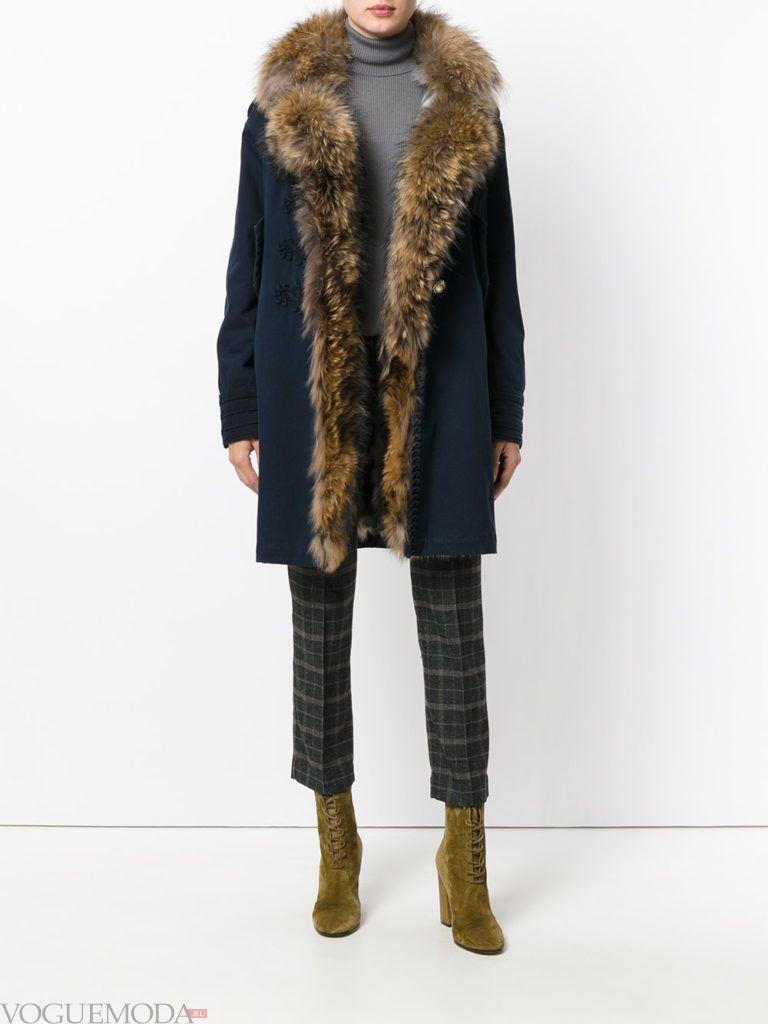 модный лук синее пальто с мехом
