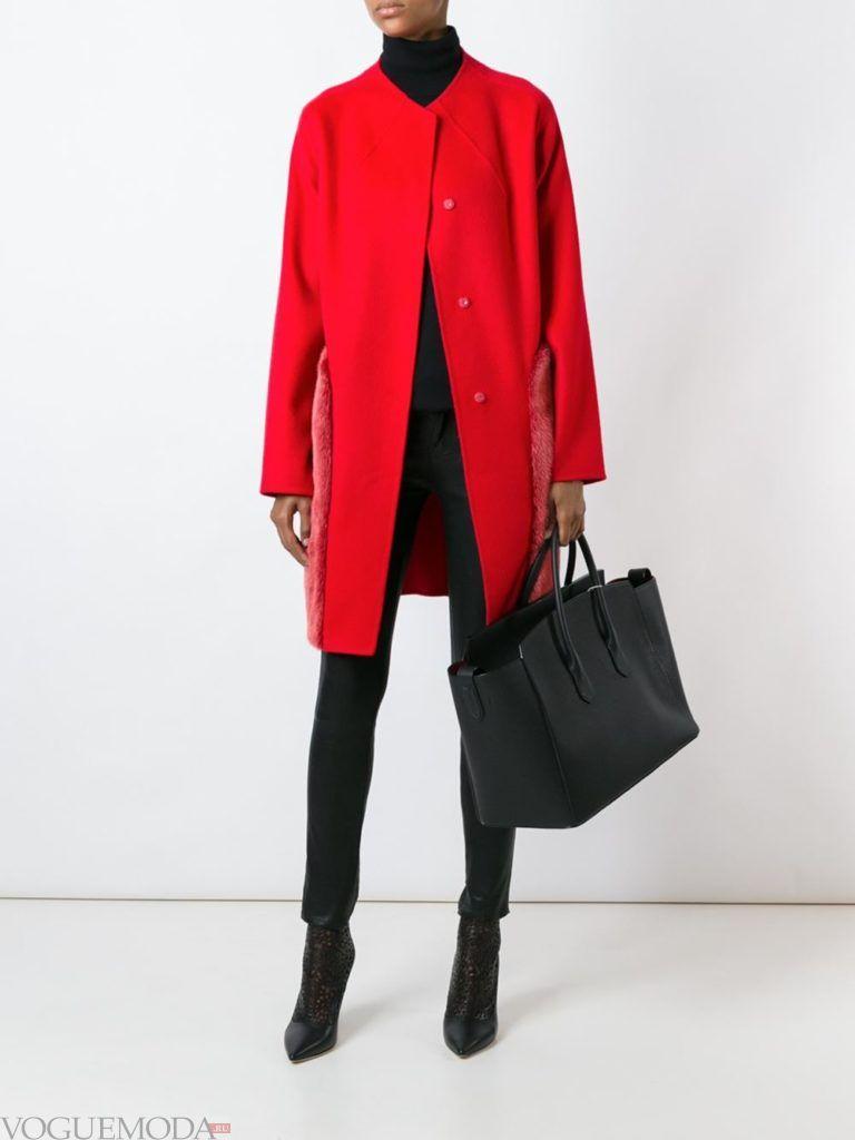 модный лук красное пальто с мехом