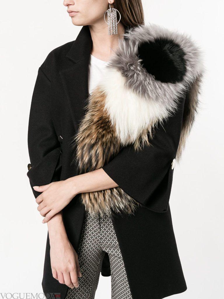 декорированный шарф меховой