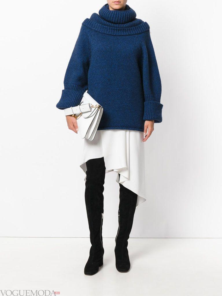 модный лук осень зима с свитером