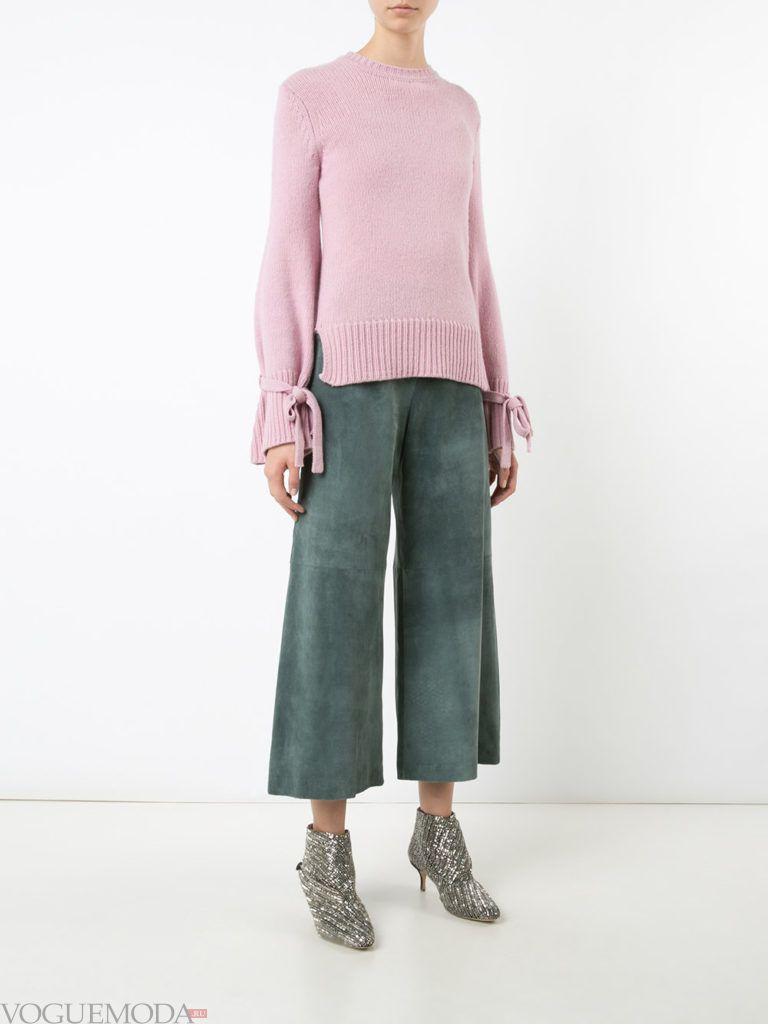 модный лук осень зима с брюками кюлоты