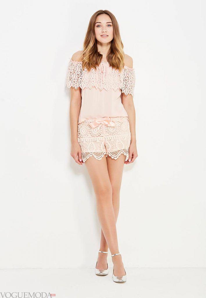 кружевные шорты розовые