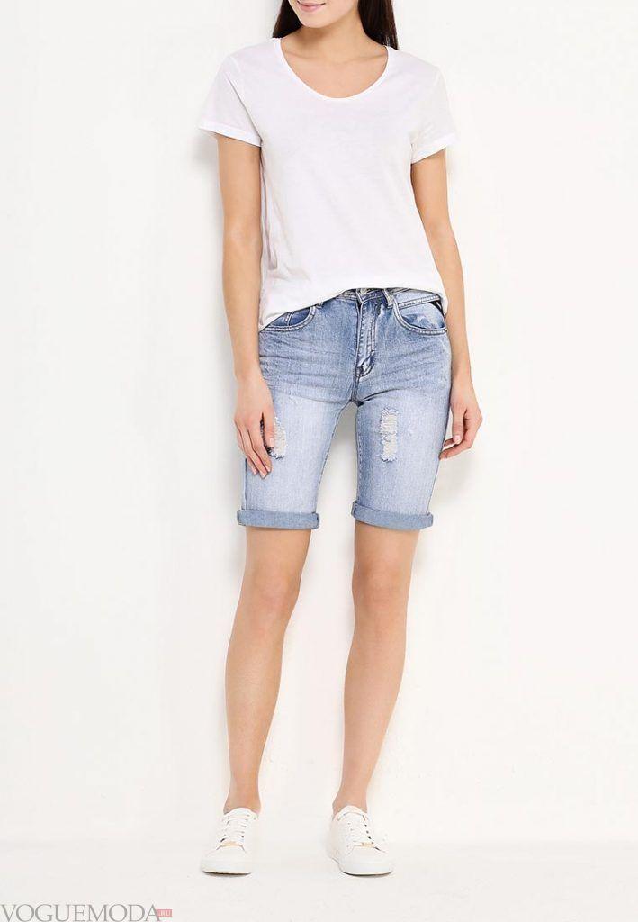 удлиненные шорты джинсовые