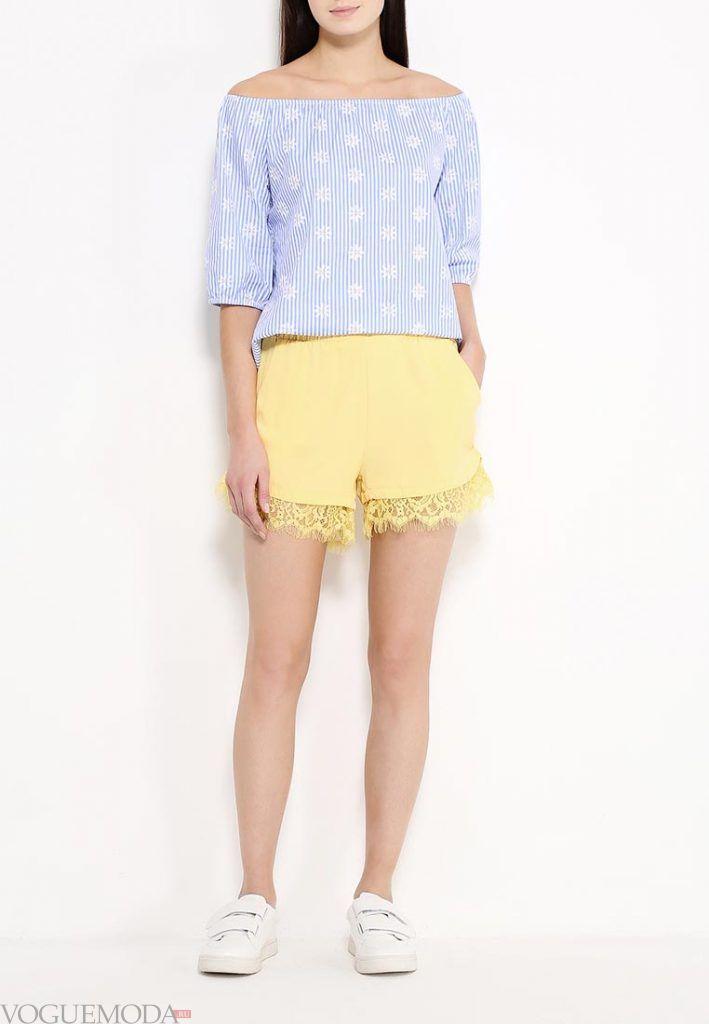 кружевные шорты желтые