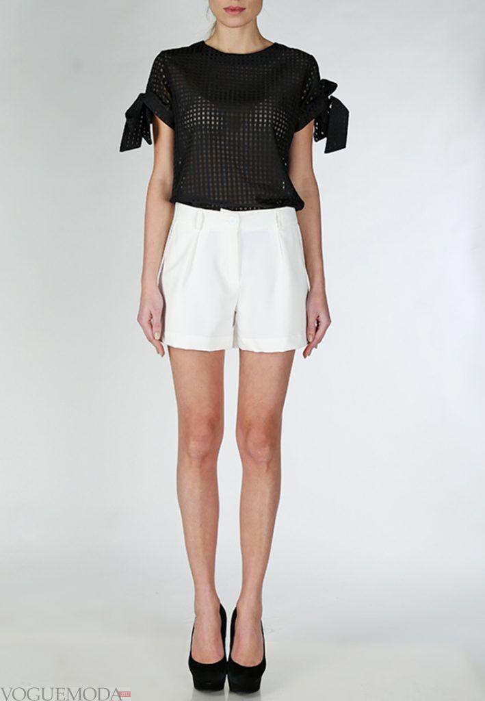 шорты с завышенной талией белые