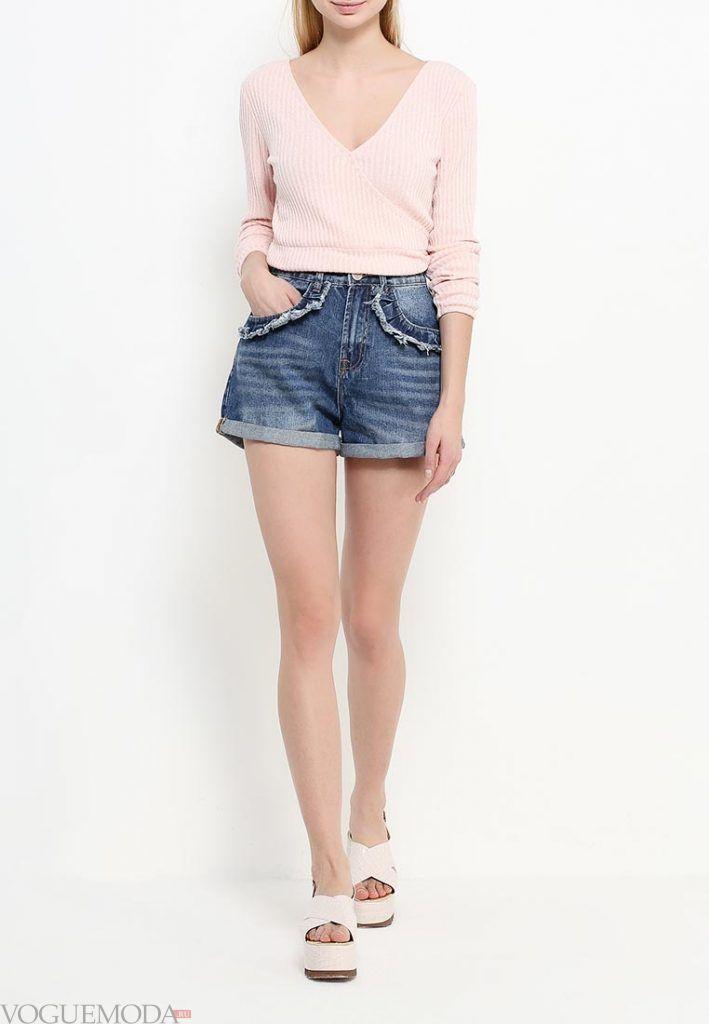 шорты с завышенной талией джинсовые