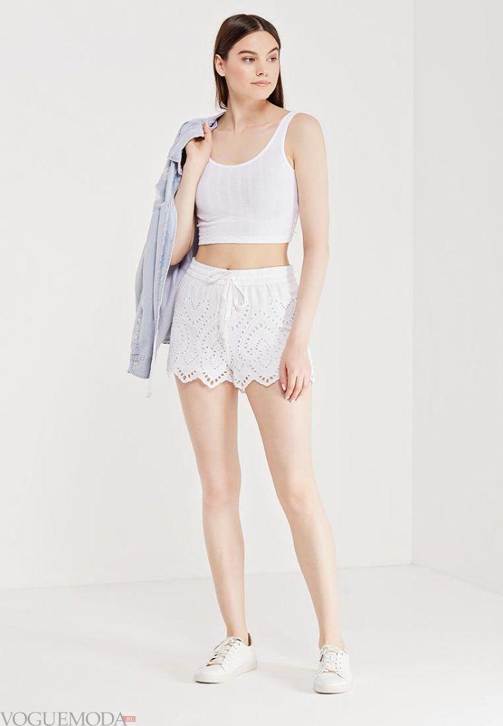 кружевные шорты белые