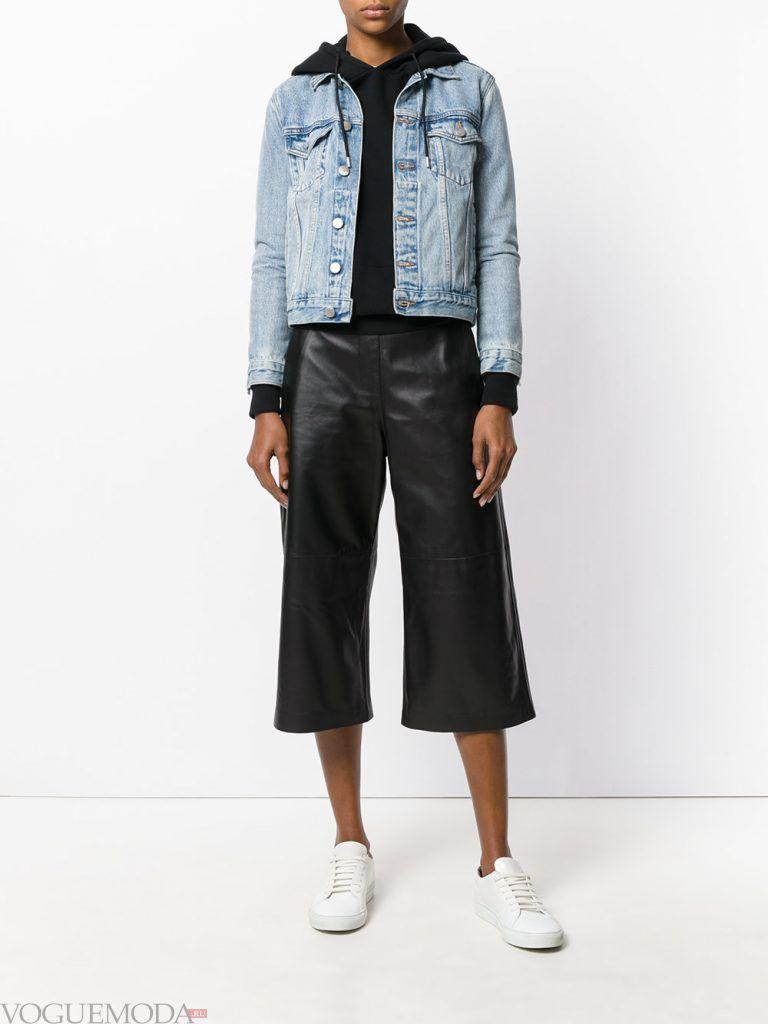 кожаные шорты кюлоты черные
