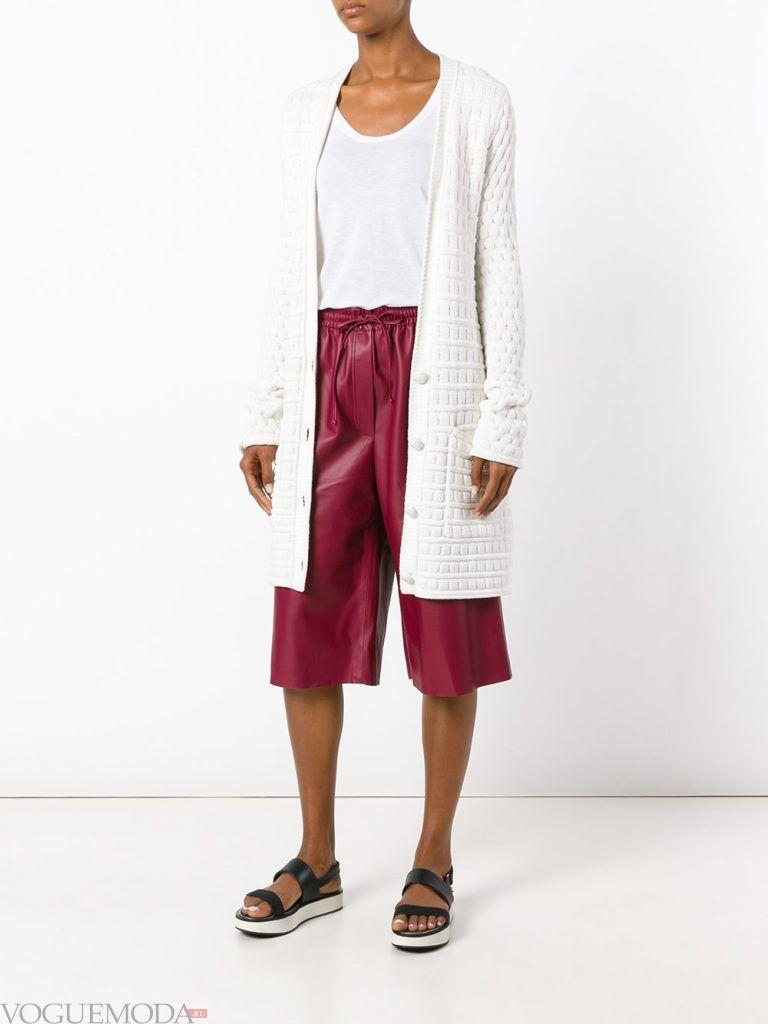 кожаные шорты кюлоты бордовые