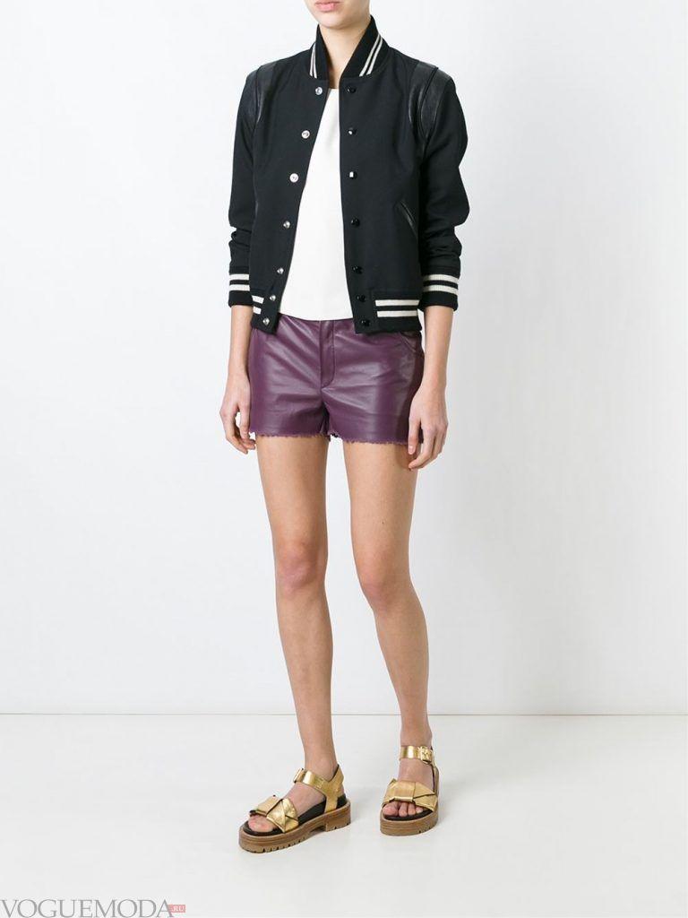 кожаные шорты фиолетовые