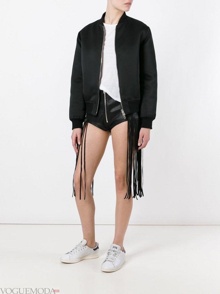 кожаные шорты с бахромой