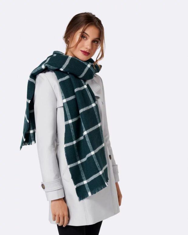 шарф темно-зеленый в клетку