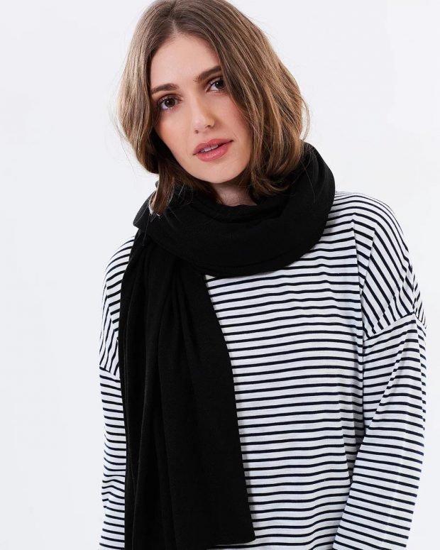 шарф ярко-черный