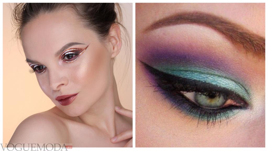 макияж глаз цвета радуги разноцветный со стрелками