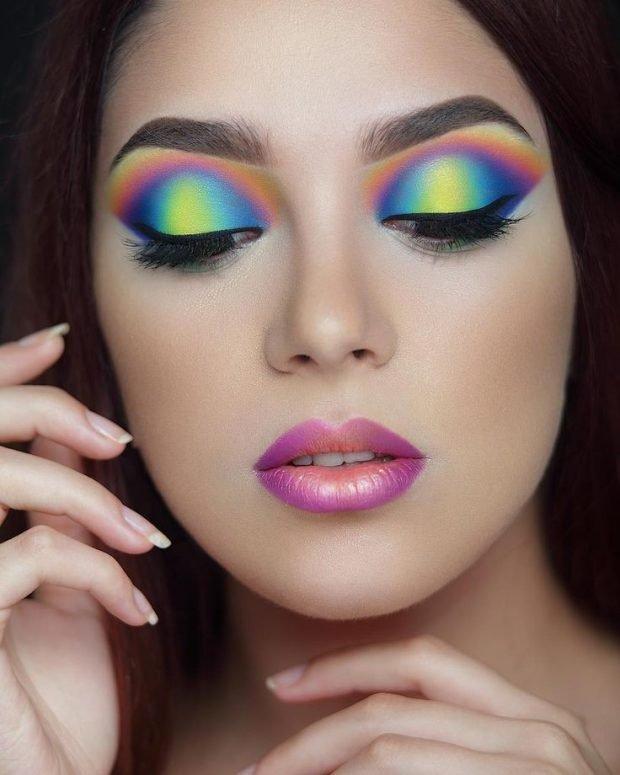 макияж глаз цвета радуги разноцветный
