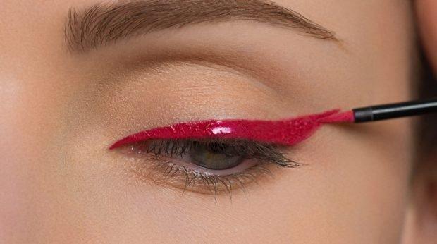 макияж глаз четкие линии красный