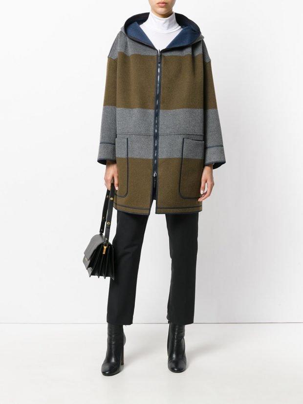 пальто в полоску двухцветное