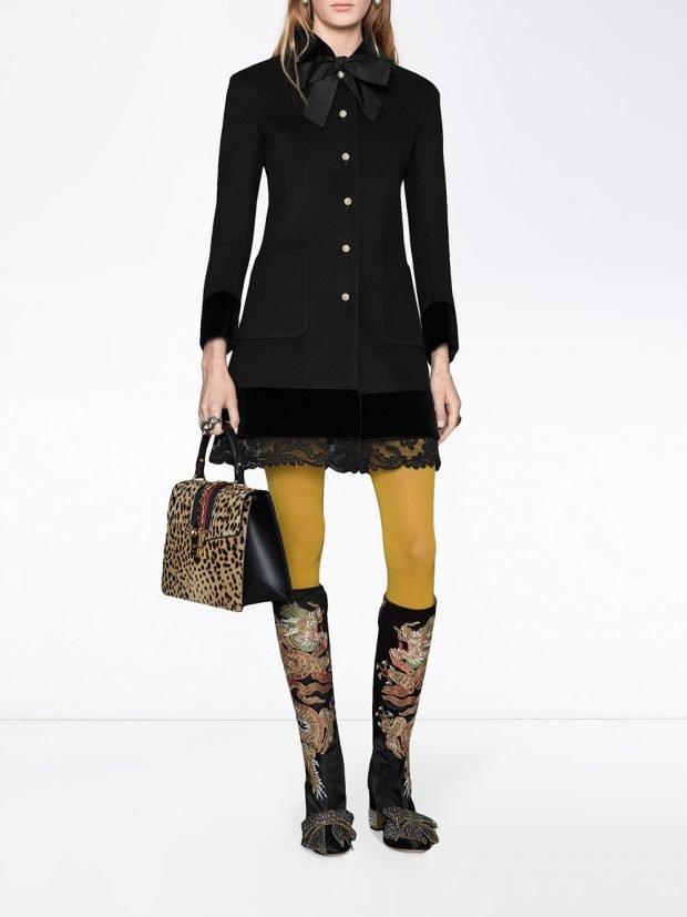 модное пальто черное