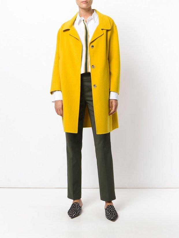 модное пальто желтое 2020 2021