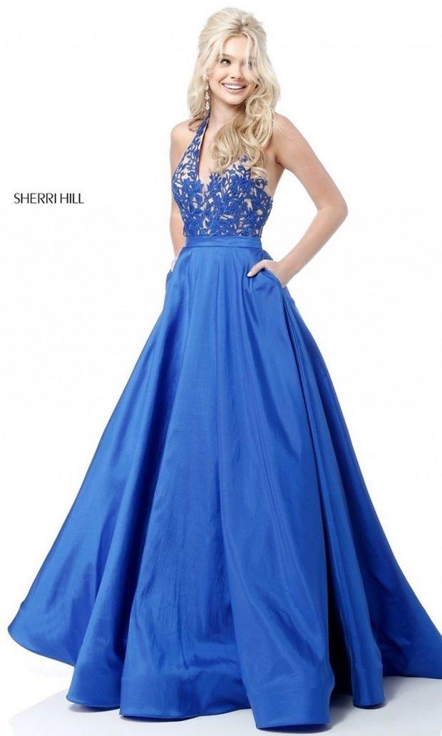 ярко-синее платье гипюр пышное