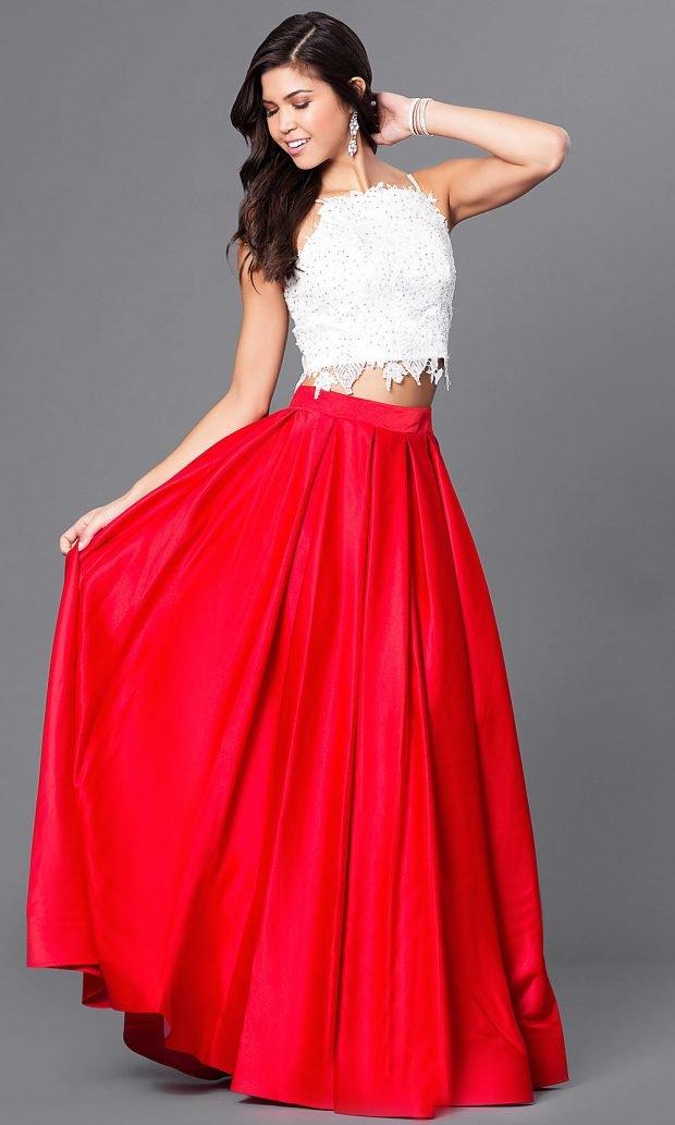 раздельное длинное пышное ярко-красная юбка белый топ