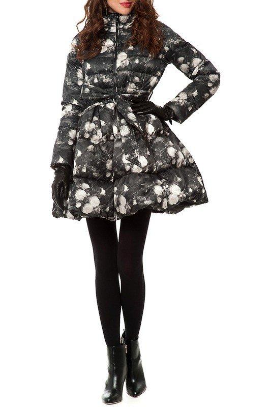 пуховик-платье длиной до колена с принтом