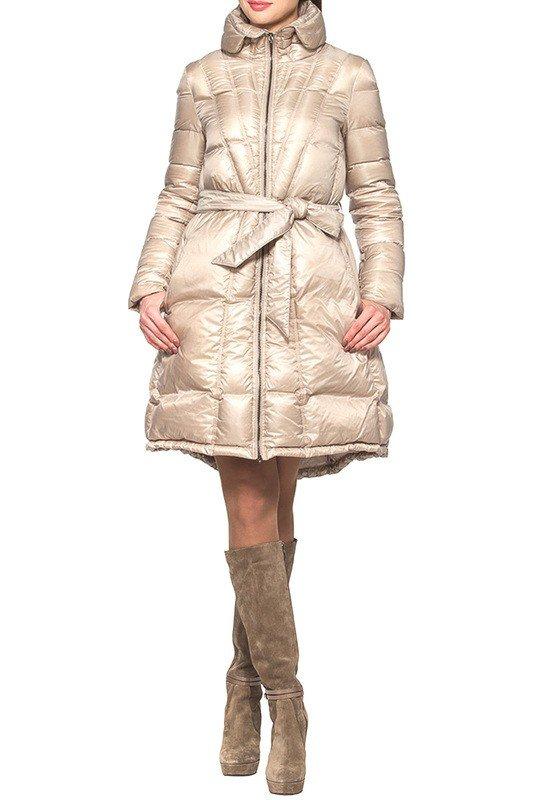 пуховик-платье длиной до колена бежевый
