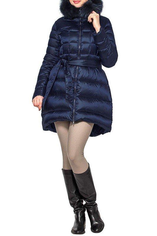 пуховик-платье длиной до колена темно-синий