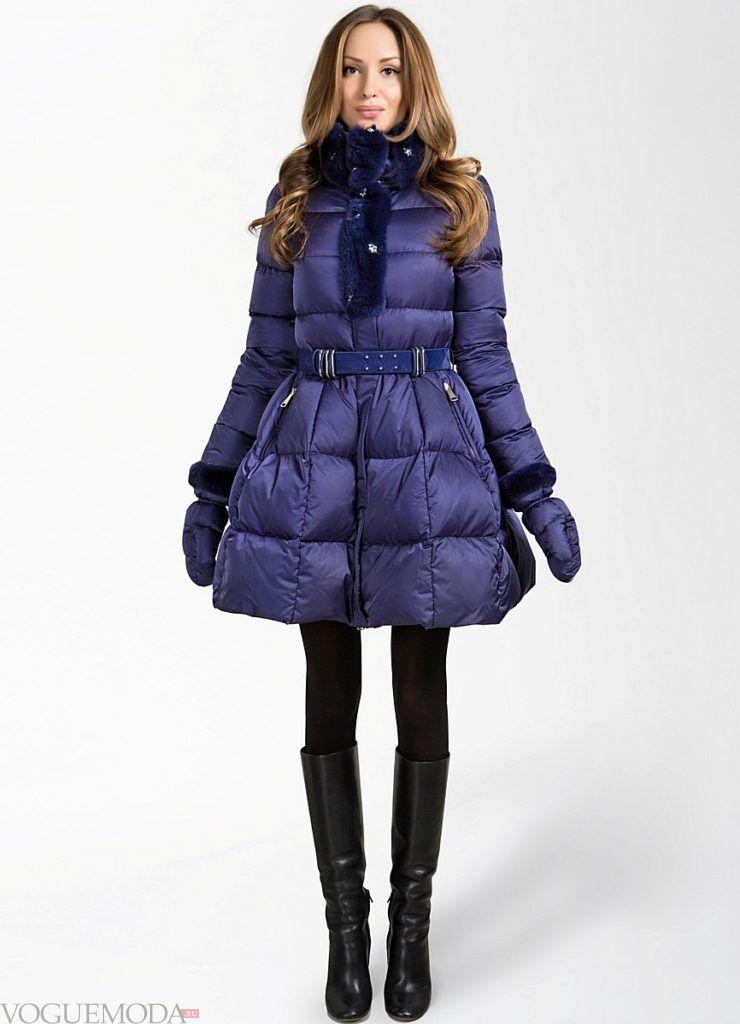 пуховик-платье длиной до колена фиолетовый