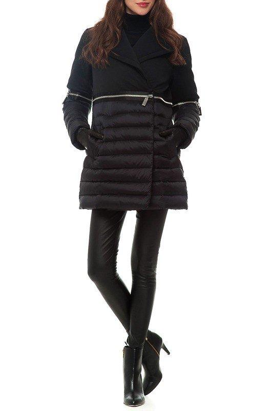 черный пуховик длиной до колена комбинированный