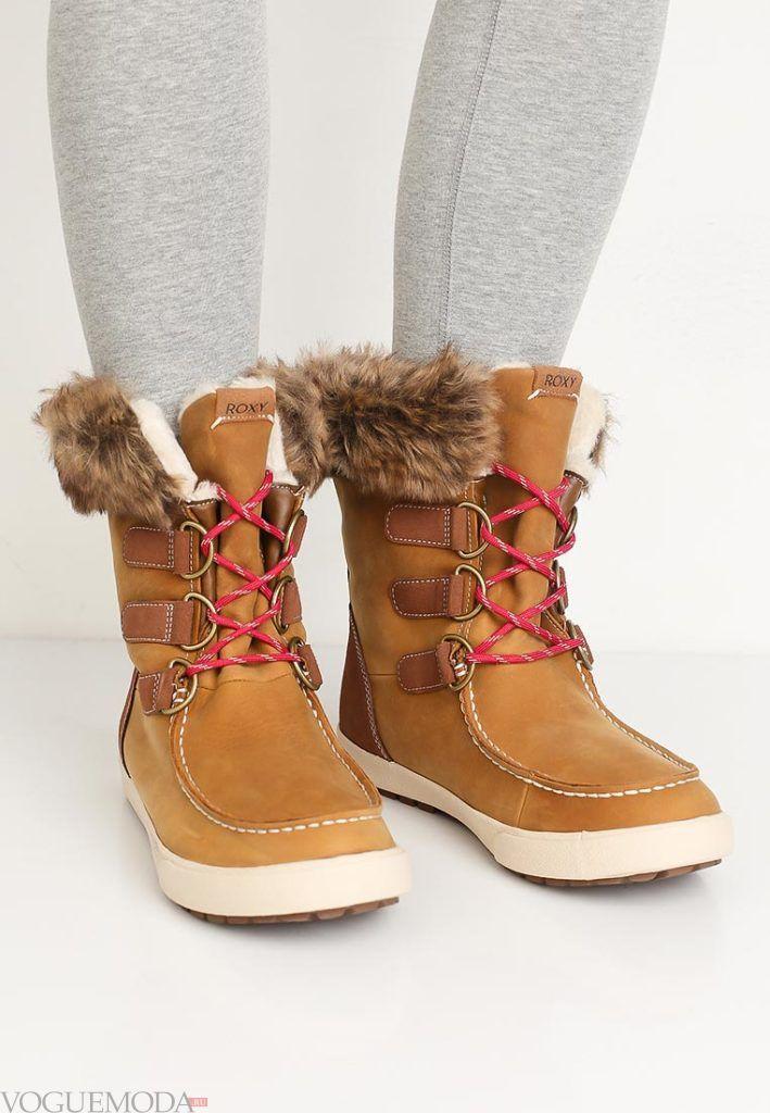 модные рыжие ботинки с мехом