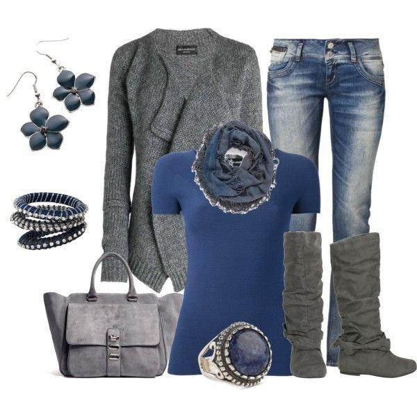 серые сапоги и синий лук