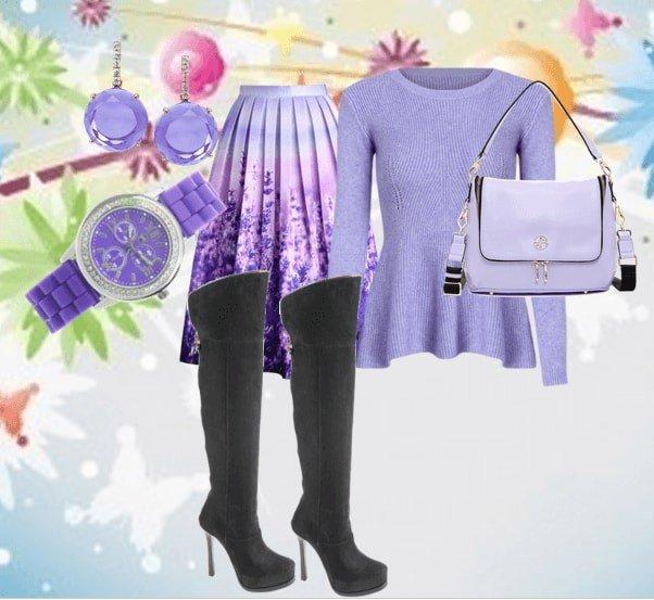 серые сапоги с фиолетовым лук