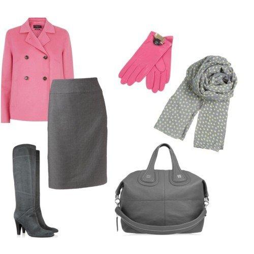 серые сапоги и розовый лук
