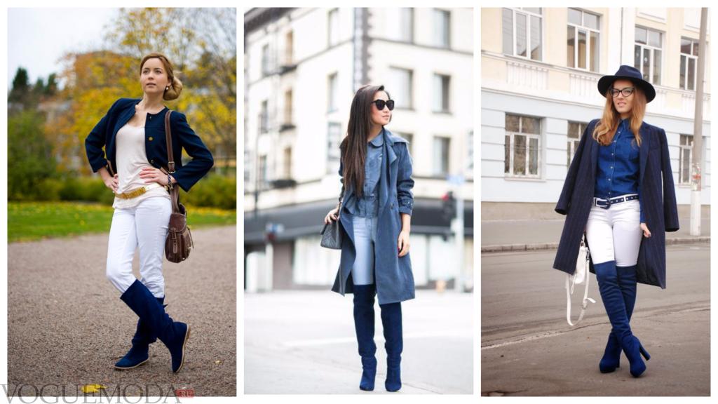 замшевые сапоги темно-синего оттенка модные