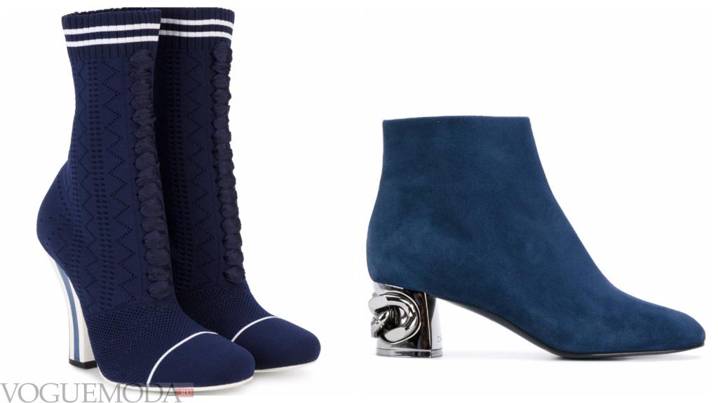 замшевые синие ботинки модные