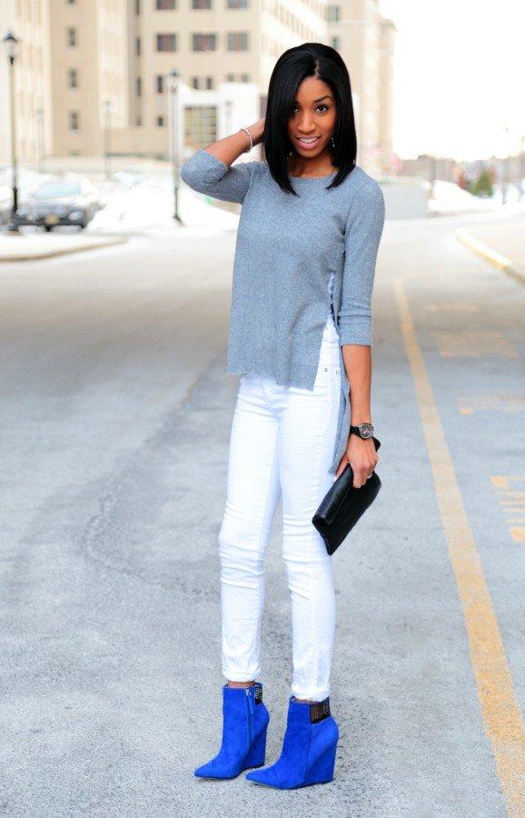 замшевые синие ботинки с брюками