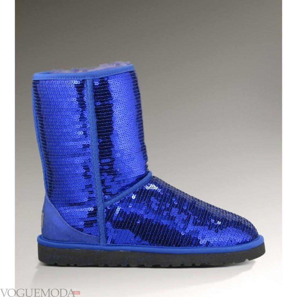 замшевые синие угги блестящие