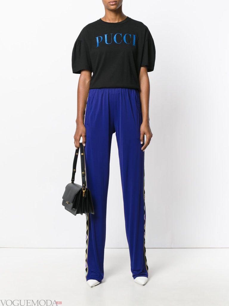 классические брюки с черной блузой